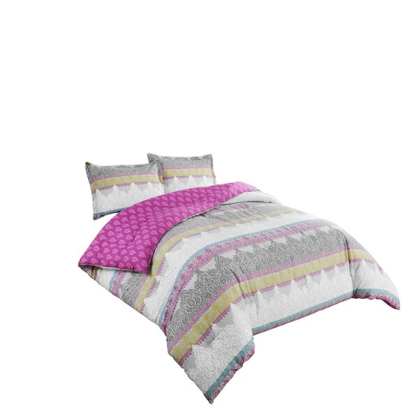 Hillary 100% Cotton Reversible Comforter Set by Bungalow Rose